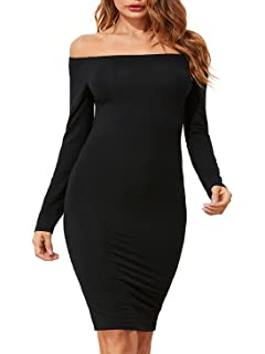 94be8199a99 Romwe Women's Off Shoulder Long Sleeve Bodycon Cocktail Party Pencil Dress