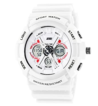 3ab58e82d Image Unavailable. Image not available for. Color: Children's Analog  Digital Sports Watch White Silicone ...