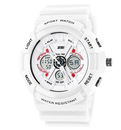 analógico digital de los deportes de los niños miran los relojes blancos de la banda de silicona para niños y niñas se enfríen reloj agradable: Amazon.es: ...
