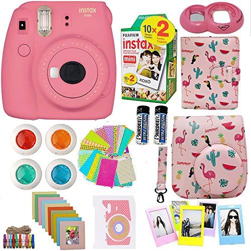 Fujifilm Instax Mini 9 Camera (USA) + Accessories kit for Fujifilm Instax Mini Camera Includes Instant Camera + Fuji Instax Film (20 PK) Case + Frames + Selfie Lens + Album and More (Flamingo PP)
