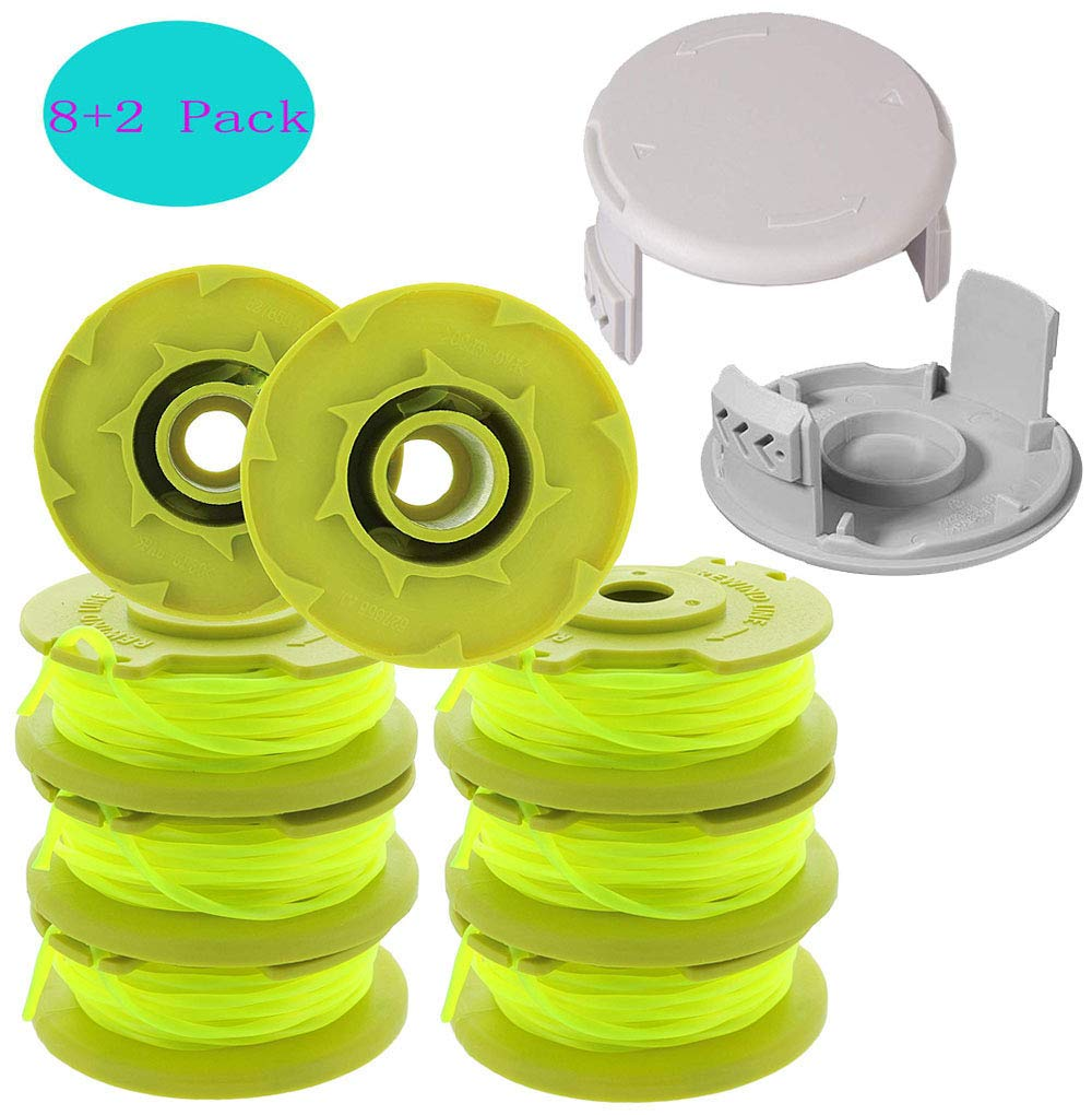 TOPEMAI AC80RL3 Replacement Trimmer Spool 11ft 0.080'' with 522994001 AC14HCA Cap Covers for Ryobi One Plus 18v 24v 40v Auto-Feed Twist Single Line (8 Spools + 2 Caps) by TOPEMAI