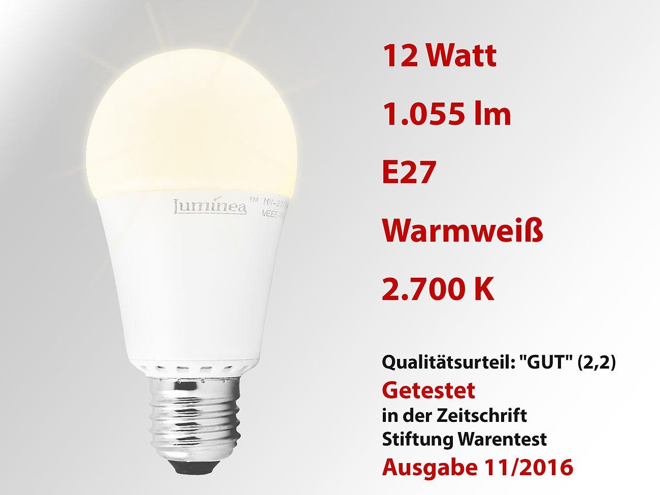 Luminea LED Tropfen: LED-Lampe, Klasse A+, 12 W, E27, warmweiß ...