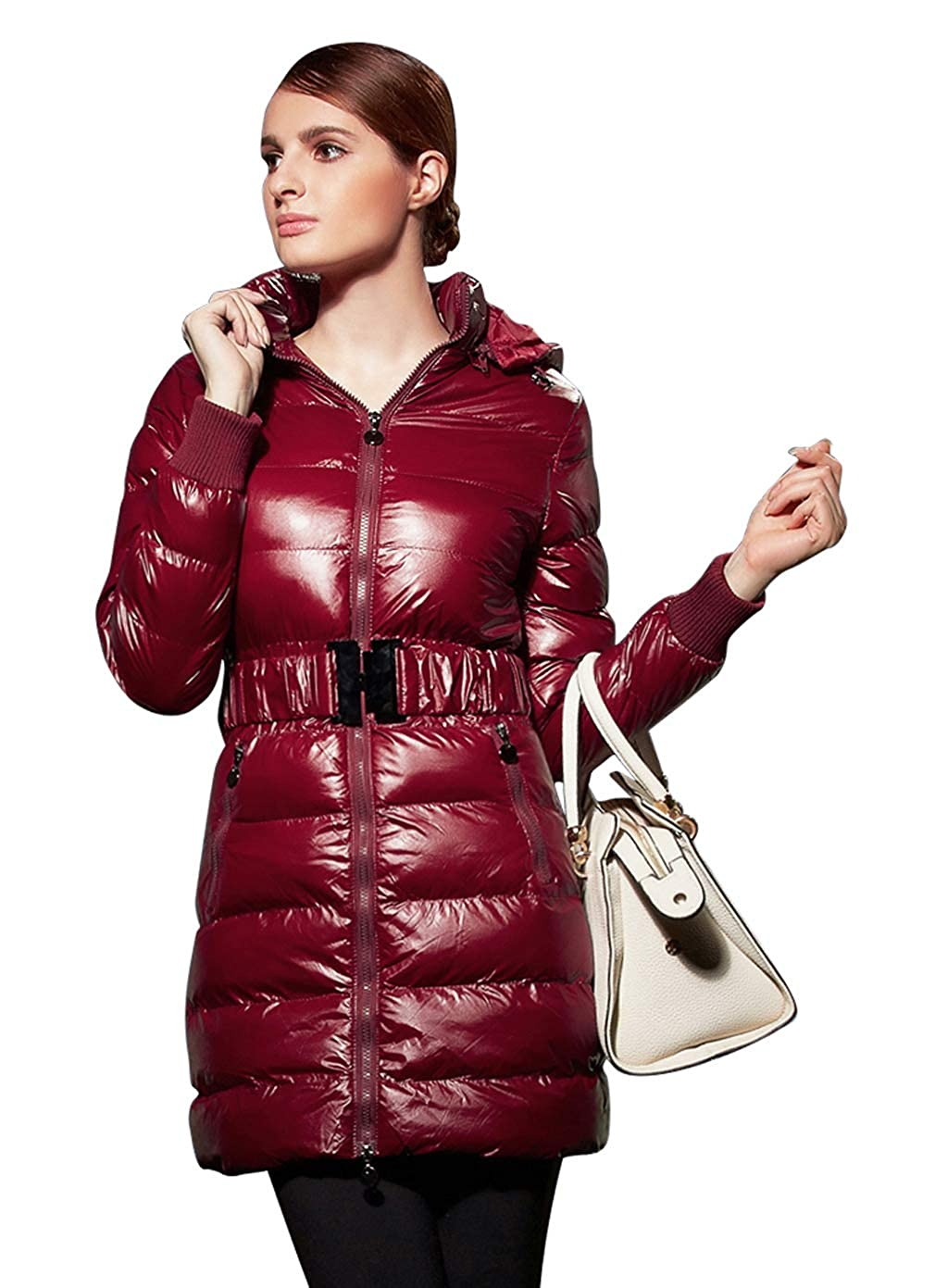 Date Red YYCT Women's Long Slim Warm Winter Belted Jacket Thick Insulated Coat