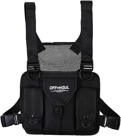 With Safe Reflective Strip Functional Hip-Hop Chest Bag Harness Vest  Unisex Bag