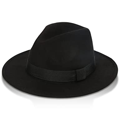 57e72211 GrowGlow Vintage Fedora Hat, Unisex Black Woolen Hat, Wide-Brim Panama  Style Hat for Beach, Party, Performance Props and Daily Use: Amazon.co.uk:  Clothing