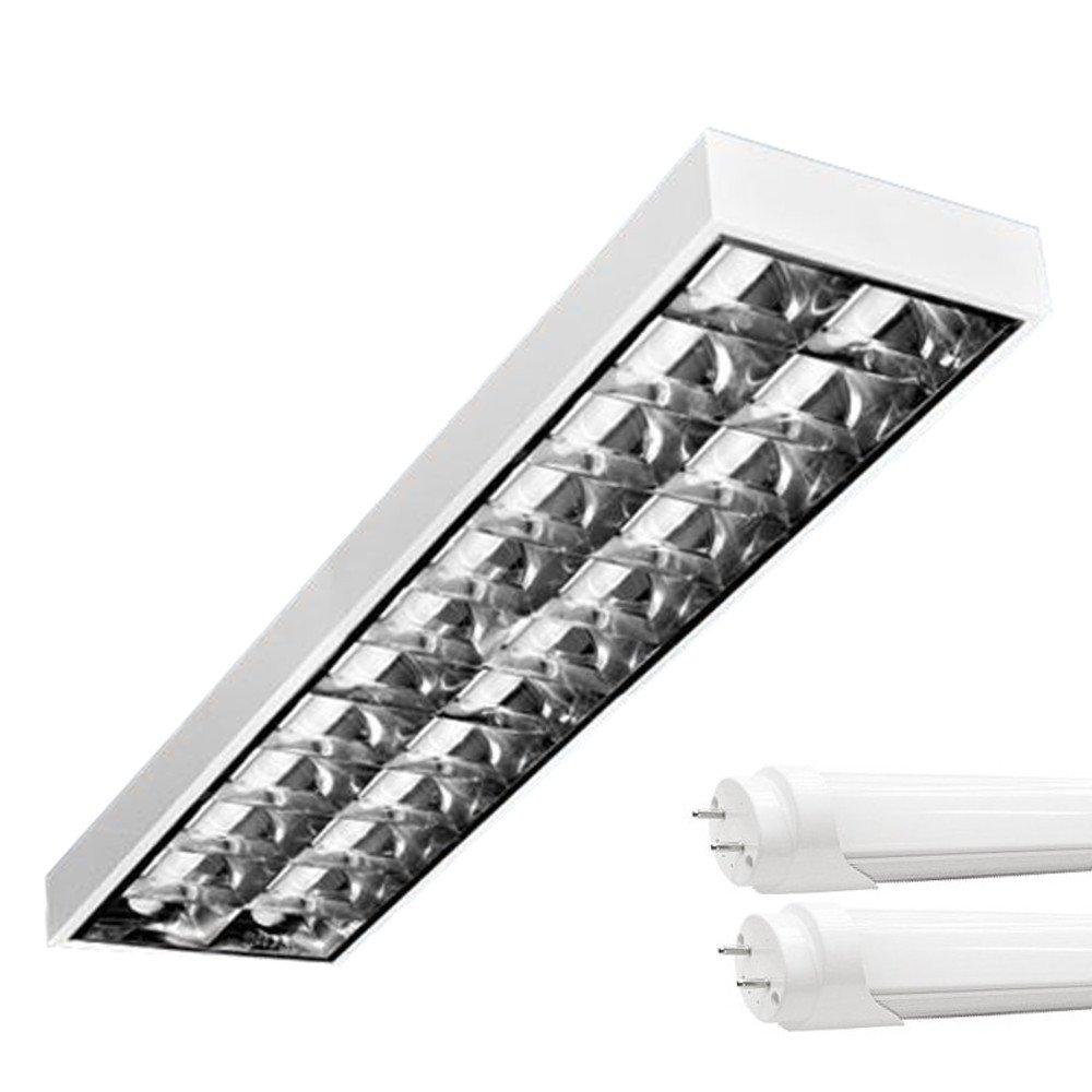 PureLed LED Rasterleuchten mit 2X T8 LED 150cm 23W neutralweiß 4500K G13 Bürolampe [Energieklasse A+]