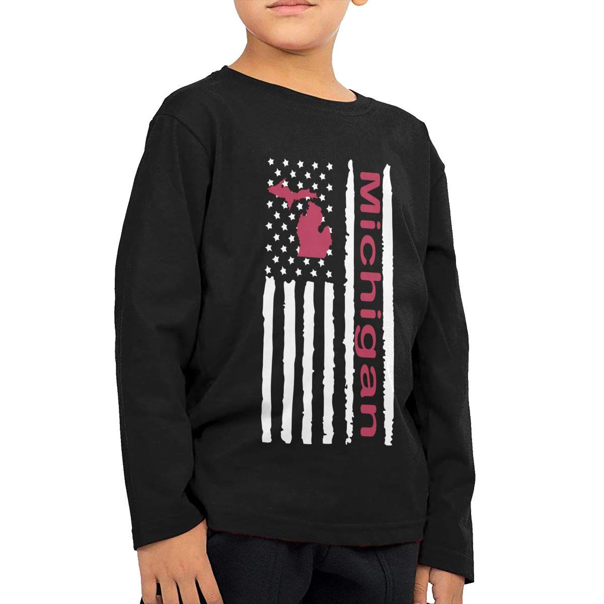 Baby Girls Kids Vintage Michigan State America Flag-1 ComfortSoft Long Sleeve Tee