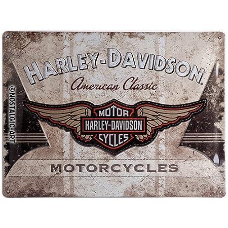 Nostalgic-Art Harley Davidson American Classic Logo - Placa decorativa, metal, 30 x 40 cm, color beige y marró n color beige y marrón Visqui Barcelona 23144