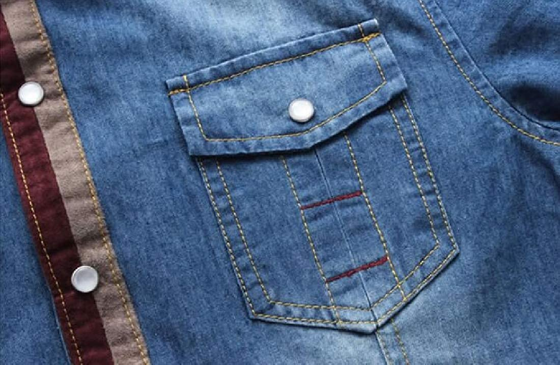 YYG Mens Single Breasted Denim Slim Fit Long Sleeve Turn Down Collar Button Down Shirts Tops