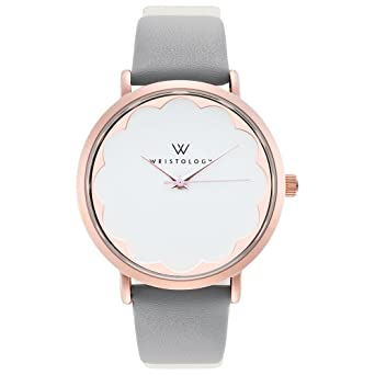 f00dc1950647 Image Unavailable. Image not available for. Color  WRISTOLOGY Olivia Womens  Rose Gold Scallop Wrist Watch Grey Leather Band