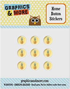 Set of 9 Puffy Bubble Home Button Stickers Fit Apple iPod Touch, iPad Air Mini, iPhone 4/4s 5/5c/5s 6/6s Plus - Summer Party Celebration BBQ - Pineapple on Yellow Background