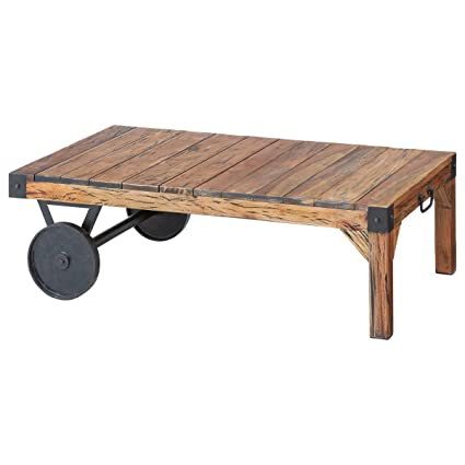 Trolley Coffee Table.Amazon Com Ttf 116 Trolley Wooden Center And Coffee Table Kitchen