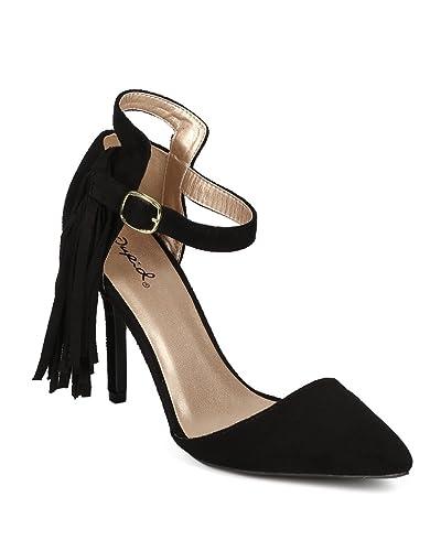 98b9b39a2b Qupid Women Suede Pointy Toe Fringe Ankle Strap D'Orsay Stiletto Pump CF35  - Black
