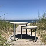 """The Cape Cod Nesting Tables, Set 2, Rustic Modern, Pastel Patina, Creamy White Pale Blue, Driftwood Gray Iron C Base, Sustainable Wood, Distressed Repurposed Style, 21' and 17 1/2"""" Diameter"""