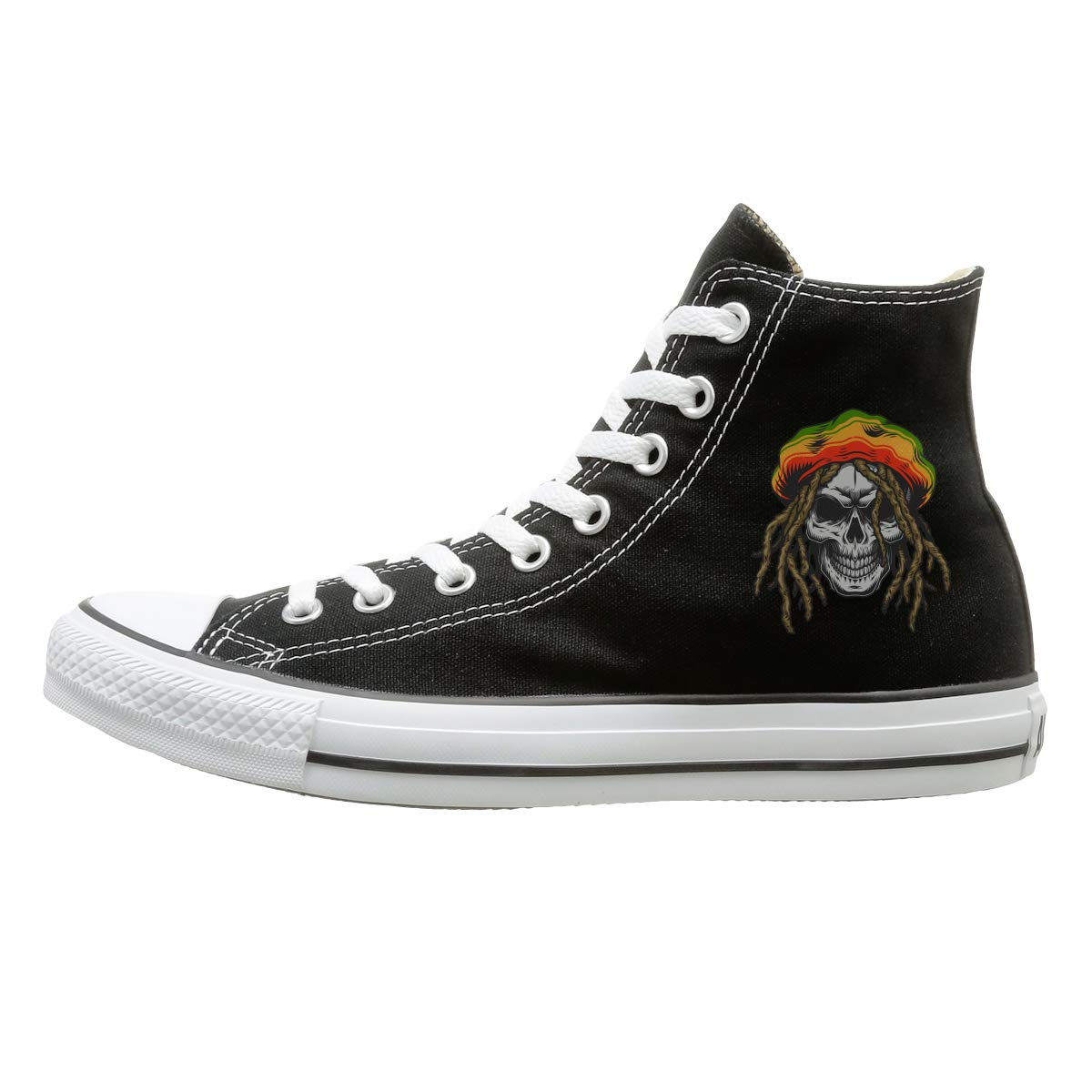 Men Women High Top Casual Sneakers Rastaman Skull With Rasta Hat Lace Up Running Shoes