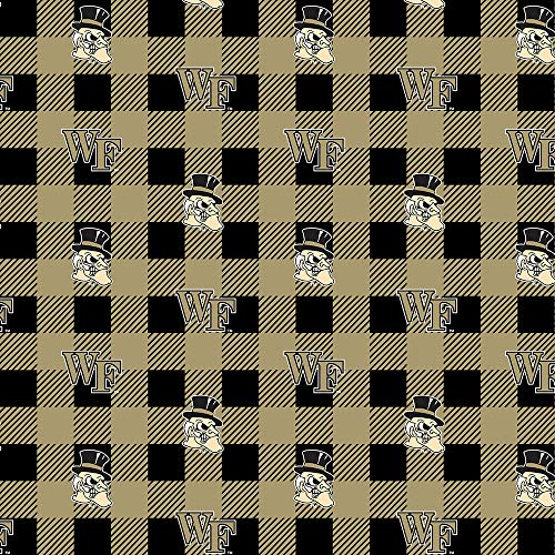 (Wake Forest Fleece Blanket Fabric-Wake Forest Fleece Fabric with Buffalo Plaid Design)