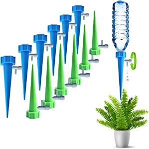 ARTEM Self Plant Watering Spikes Auto Drippers Irrigation Devices Vacation Automatic Plants Water System with Adjustable Control Valve Switch Design for Houseplant, Gardenplant, Officeplant 12 Pack