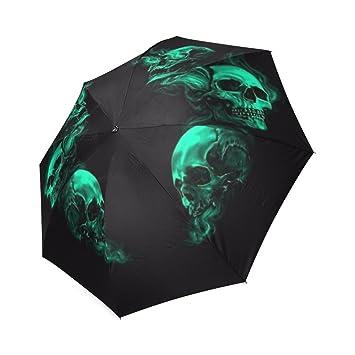 kitchor personalizado azul calaveras todo tipo de clima plegable paraguas de viaje