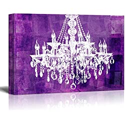 "wall26 Canvas Wll Art - Crystal White Chandelier on Grunge Purple Background - Giclee Print and Stretched Ready to Hang - 24""x36"""