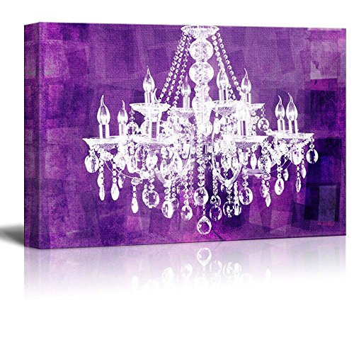 wall26 Canvas Wll Art - Crystal White Chandelier on Grunge Purple Background - Giclee Print and Stretched Ready to Hang - 24