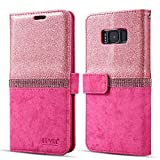 LEVOL Glitter Case for Samsung Galaxy S7 Edge,Bling Diamond Folio Leather Wallet Case with [Kickstand] [Card Slots] [Magnetic Closure] Flip Slim Case for Samsung Galaxy S7 Edge [Hot Pink]
