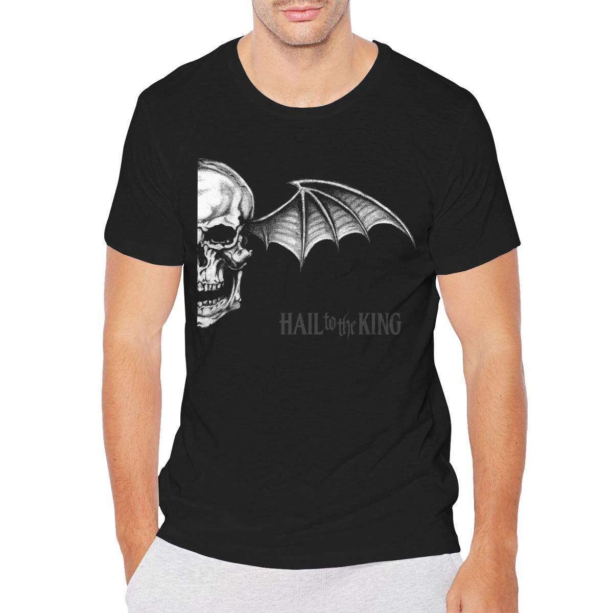 KOLODZIEJKIMM Men Avenged Sevenfold Hail to The King Tees Round Neck Short Sleeve Tshirts Black