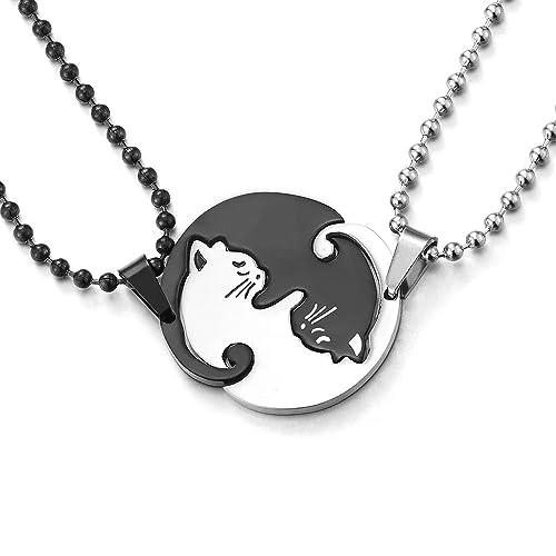 COOLSTEELANDBEYOND Un Par Acero Inoxidable Gato Emparejado Collar Colgante para Hombre Mujer Amantes Parejas Amigos, Plata Negro