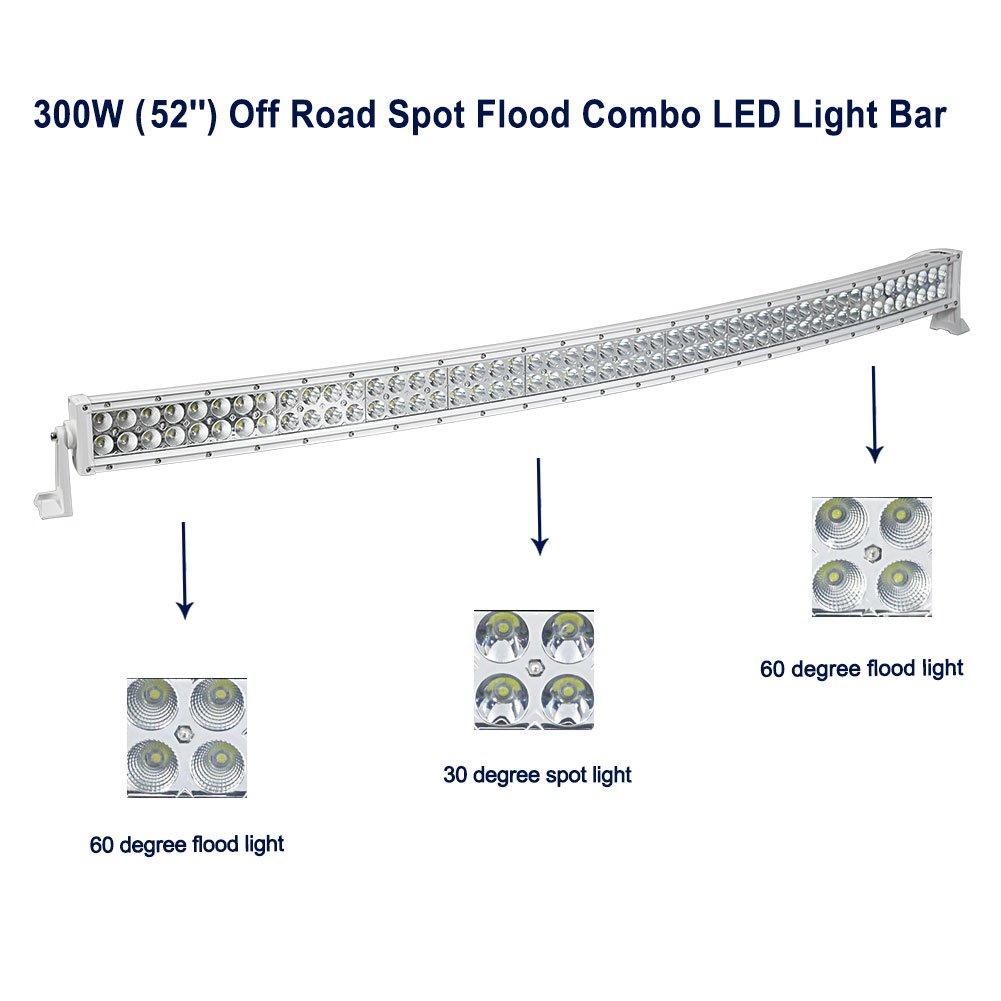 Amazon.com: LEDKINGDOMUS 52 Inch White Curved Led Light Bar 300W ...