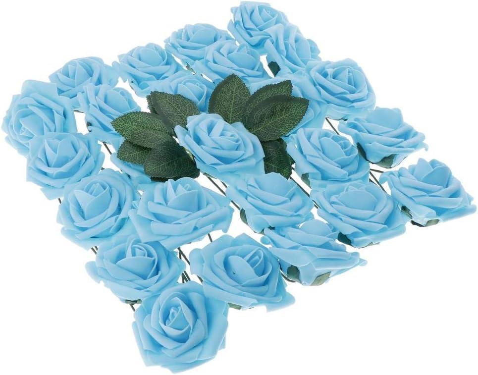 B Blesiya Artificiales de Espuma Eolores Caja de Flores Rosas Artificiales de Bricolaje para Decoración de Hogar para Navidad y Fiesta - Azul Claro: Amazon.es: Hogar