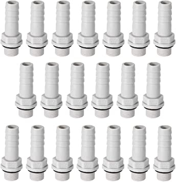 uxcell PVC Barb Hose Fitting Connector Adapter 8mm or 5//16 Barbed x G1//4 Male Pipe 6pcs