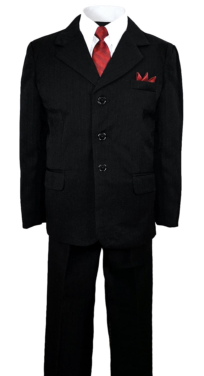 Amazon.com: Boys Pinstripe Suit in Black with Matching Dark Red ...
