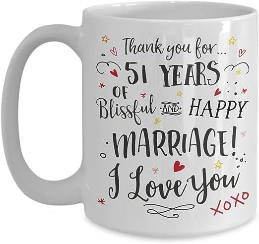 Amazon Com 51st Wedding Anniversary Gift Mug Blissful Happy