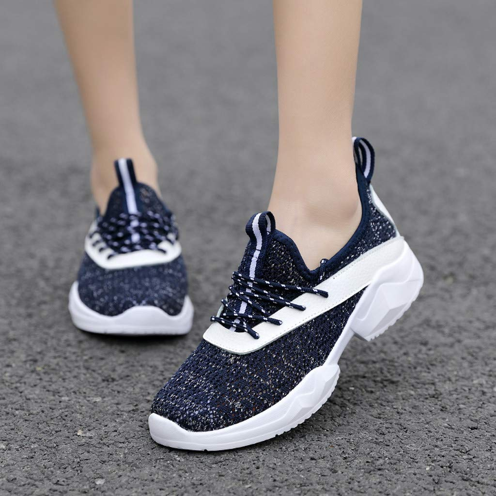 VonVonCo Leisure Womens Outdoor Mesh Lace-Up Sports Shoes Run Breathable Shoes Sneakers