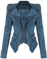 Lath.pin Womens Studded Punk Jeans Jacket Demin Tuxedo Coat Moto Blazer Jacket