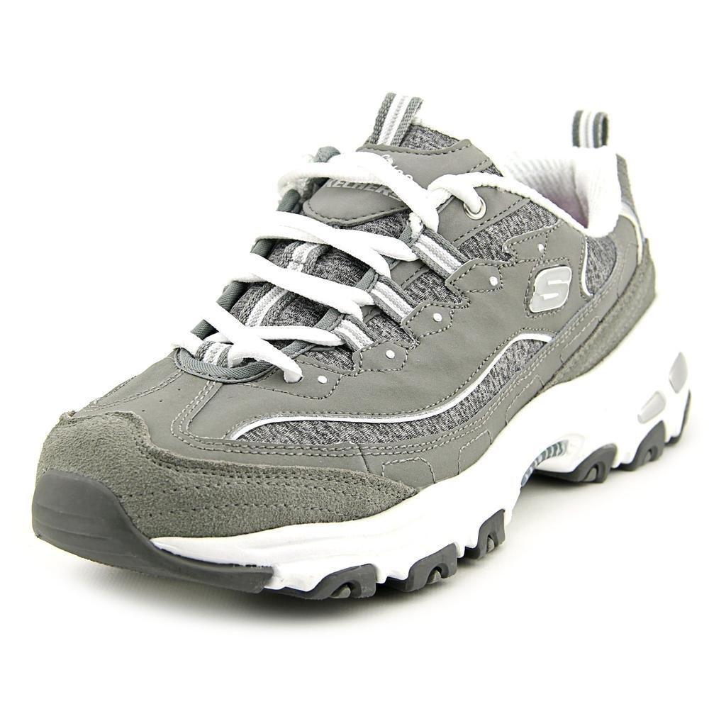 Skechers Women's D'Lites Memory Foam Lace-up Sneaker B01NC3EE62 7 B(M) US Gry/Wht