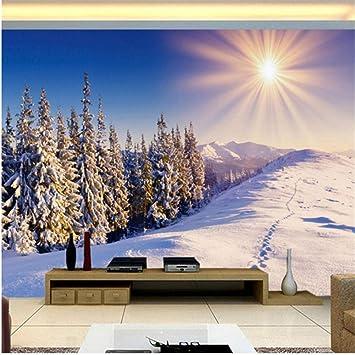 Lsfhb Custom Any Size 3D Wall Mural Wallpapers Invierno Nieve Modern Tv Fondo Pared Sala De Estar Papel De Pared Decoración Para El Hogar -350X250Cm: Amazon.es: Bricolaje y herramientas