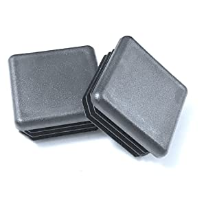 """Made in USA (Pack of 4) - 1 1/2"""" - 1.5 Inch Square Black Plastic 10-14 Ga ( 1.29""""-1.34"""" ID) Tubing Plug, End Cap -Steel Fence Post Pipe Tube Cover - Furniture sliding Inserts - Fitness Eqpt End Caps"""