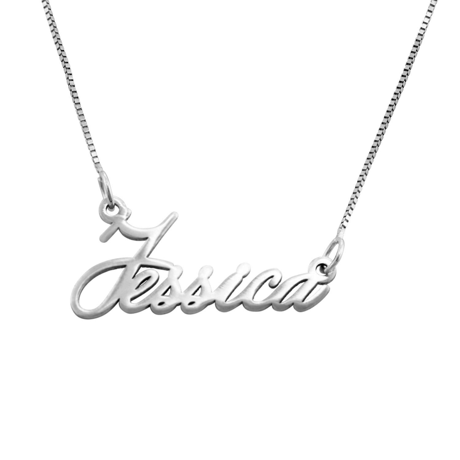 MyNameNecklace 18k Gold Plated Extra Small Name Necklace- Personalized Jewelry - Extra Strength Pendant (white-gold-14K)