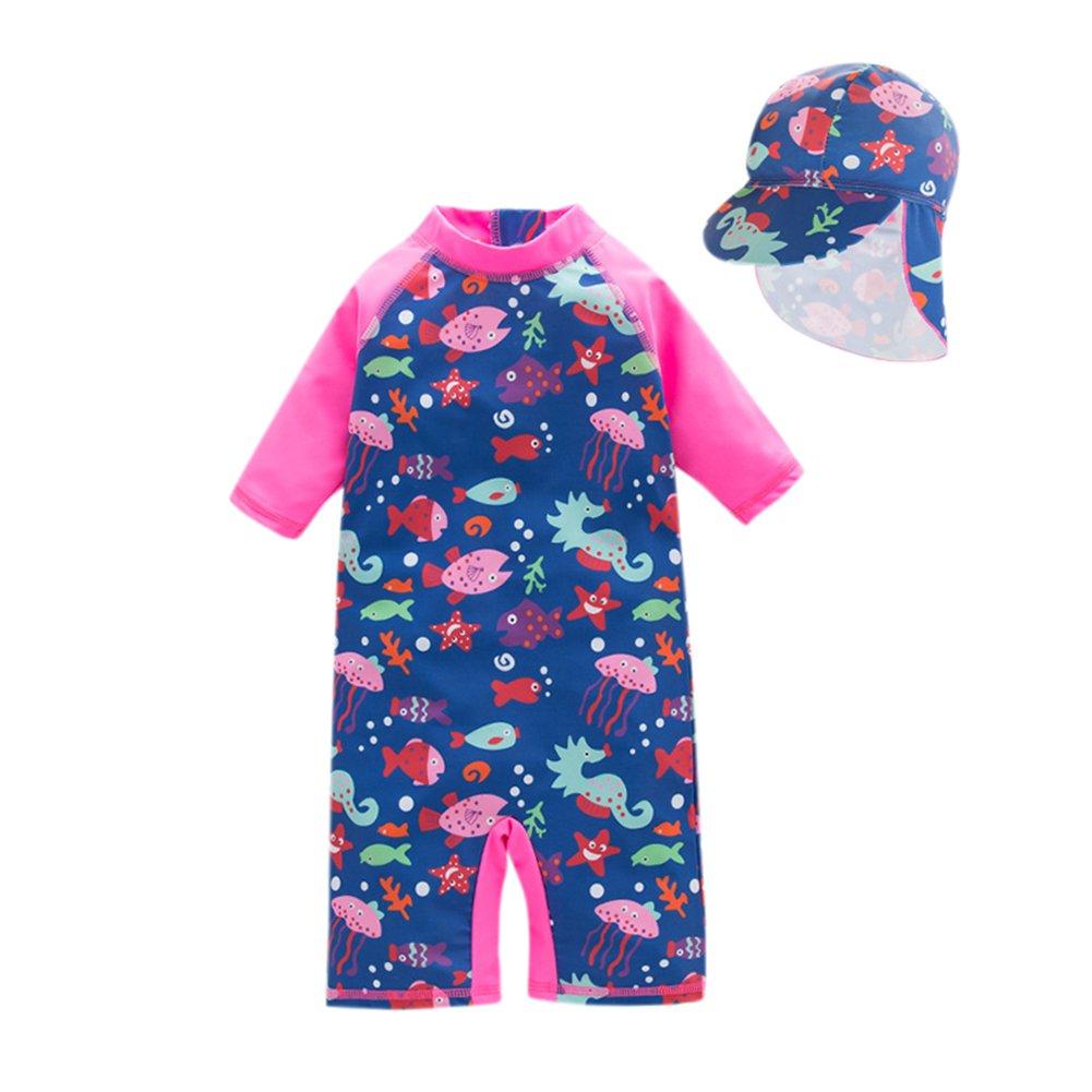 Pretty 2 Pcs/Set Children Girl Cute Printed One Piece Short Sleeve Swimsuit Short Pants + Hat Alician