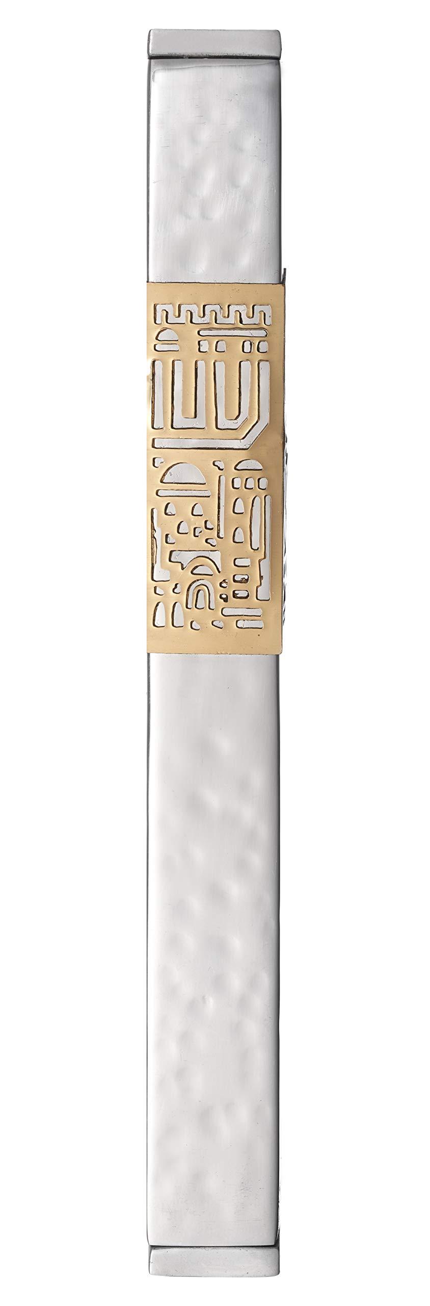 Modern Mezuzah Case with Jerusalem Design (Hammered Silver, 12cm_5inch)