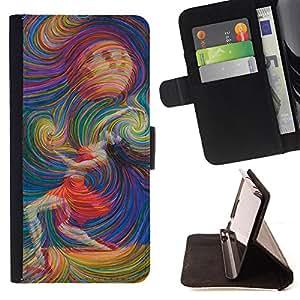 King Art - Premium-PU-Leder-Prima caja de la PU billetera de cuero con ranuras para tarjetas, efectivo Compartimiento desmontable y correa para la mu?eca FOR HTC Desire D816 816 d816t- Colorfull space