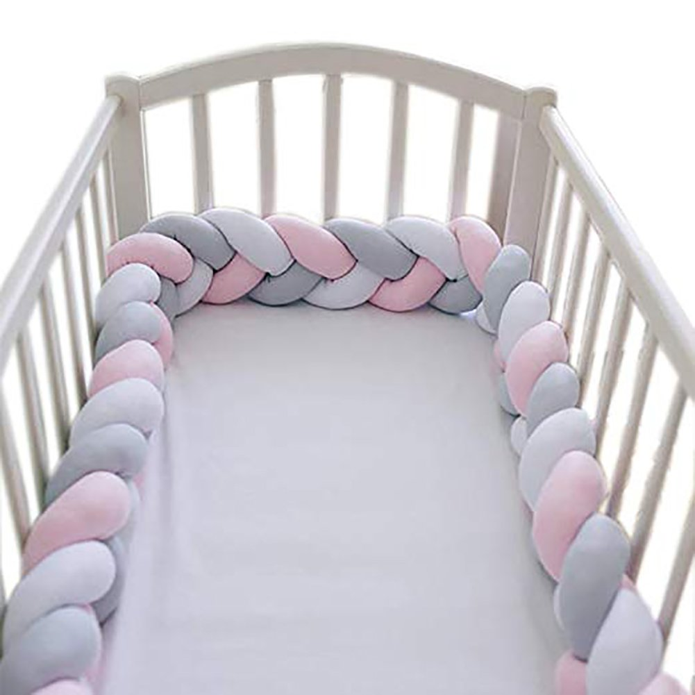 Baby Bed Bumper Crib for Boys Girls Baby Cot Bumper Knot Braid Crib Protector Room Decor Childrens Room Toy Gift,White-200cm