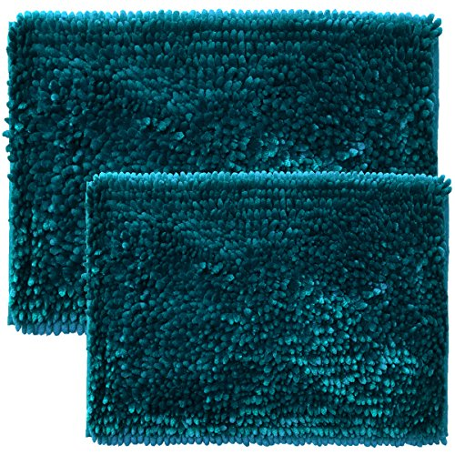 Sweet Home Collection Chenille Noodle 2 Piece Bathroom Rug Set, Teal