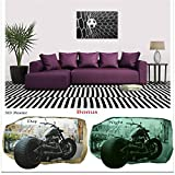Startonight Black and White Wall Art Canvas Bundle Soccer Ball, Abstract Framed Painting, Free Gift 3D Poster Photography for Real Men