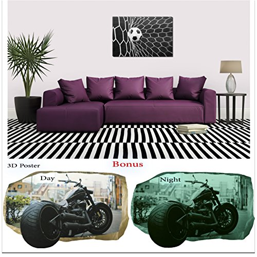 Startonight Black and White Wall Art Canvas Bundle Soccer Ball, Abstract Framed Painting, Free Gift 3D Poster Photography for Real Men by Startonight