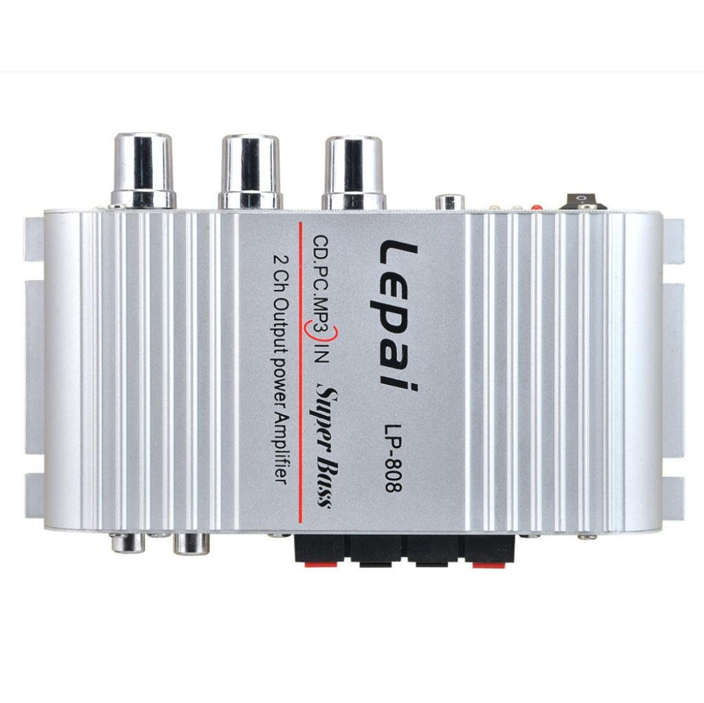 DDLBiz(TM) Mini Hi-Fi Audio Stereo Amplifier 12V 20W X2 RMS Amp For Home Car Silver