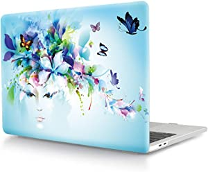 HRH Creative Foral Girl Flower Pattern Laptop Body Shell Protective Hard Case for MacBook New Pro 13 inch with Touch bar A2159 A1706 A1989/ Without Touch bar A1708 A1988(2019 2018 2017 2016 Release)