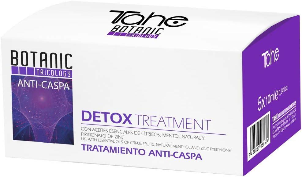 Tahe Detox Botanic Tratamiento Anti-Caspa Combatidor de la Descamación Excesiva con Oro Líquido y Keratina Pura, 5 X 10 ml