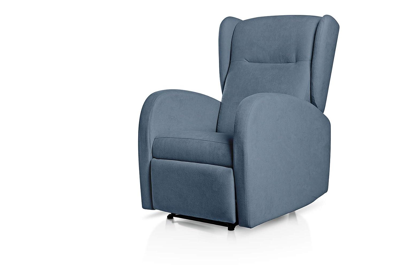 SUENOSZZZ-ESPECIALISTAS DEL DESCANSO Sueños ZZZ   Sillon Relax reclinable Home tapizado Tela Antimanchas Azul   Sillon reclinable butaca Relax   ...