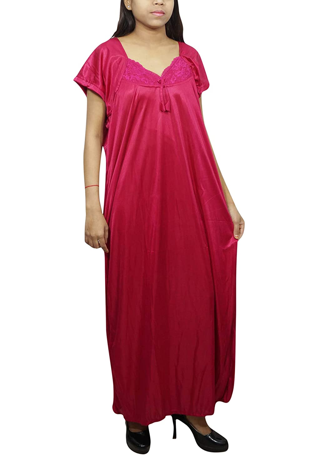 9abe379ed5 Indiatrendzs Women Pink Nightwear Solid Satin 2pc Nighty with Robe  Amazon. in  Clothing   Accessories